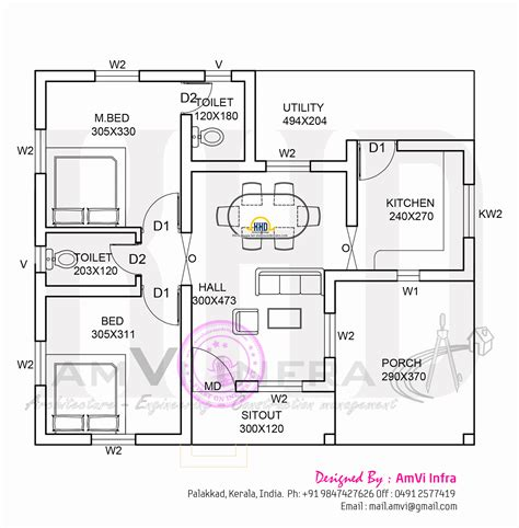 Free Floorplans by 900 Sq Feet Free Single Storied House Kerala Home Design
