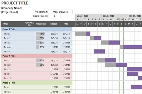 Simple Gantt Chart By Vertex42 Easy To Use Gantt Chart Template