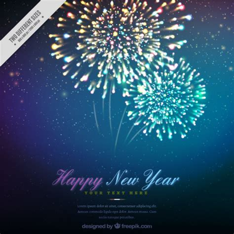 happy new year background with beautiful fireworks vector
