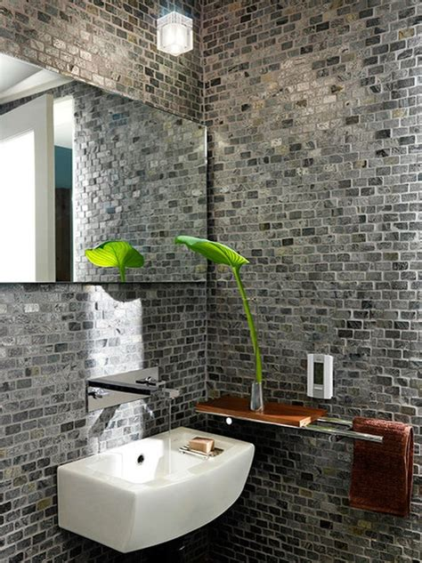 Brick Wall Tiles Bathroom by 39 Stylish Bathrooms With Brick Walls And Ceilings Digsdigs
