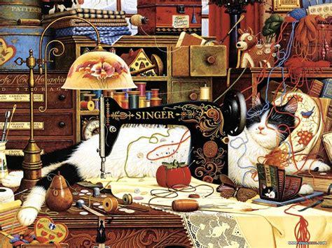 Charles And Ceits charles wysocki cat and sewing machine charles wysocki
