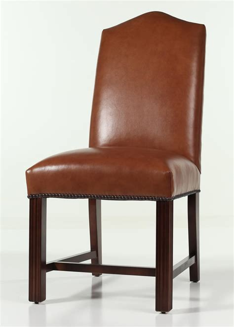 leather camel  chippendale dining chair  nailhead trim