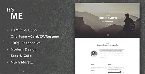 page one responsive vcard resume html template it sme responsive vcard cv resume template by mhs 0