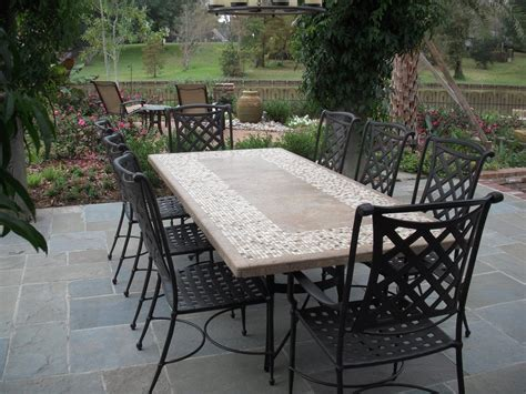 Stone Top Dining Table With Outdoor Chairs From Bay Breeze Granite Patio Table