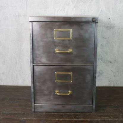 2 drawer stripped steel filing cabinet with brass handles