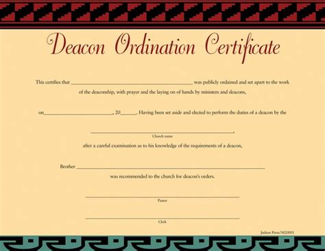 deacon ordination certificate brother certificate