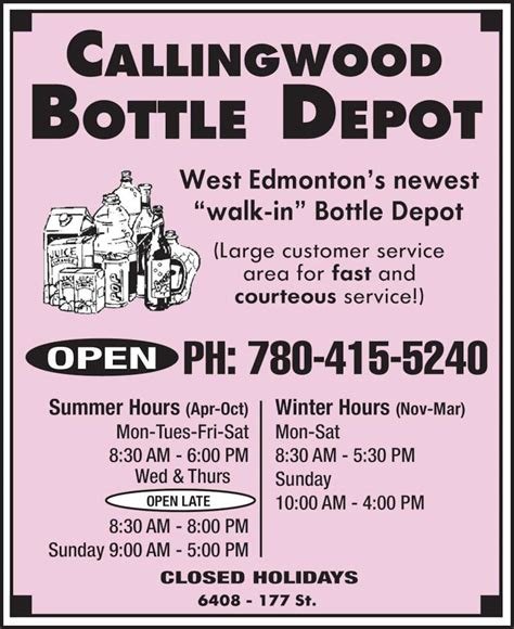 callingwood bottle depot opening hours 6408 177 st nw