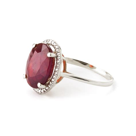 Ruby 4 75 Ct ruby and halo ring 7 75ct in 9ct white gold