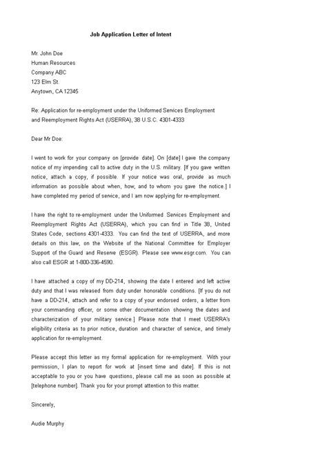 Job Application Letter of Intent | Templates at