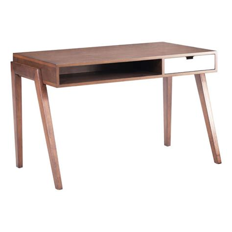 Contemporary Wooden Office Desk In Walnut Finish With Modern Desk