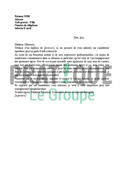 lettre de motivation aide cuisine d饕utant lettre de motivation d une aide 224 domicile pratique fr