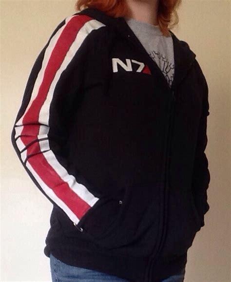 Hoodie Zipper Mass Effect N7 Hitam Merch handmade mass effect n7 hoodie by silver sundog on deviantart