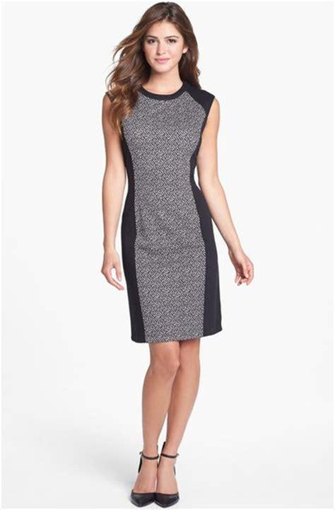 calvin klein knit dress calvin klein colorblock print ponte knit dress in white
