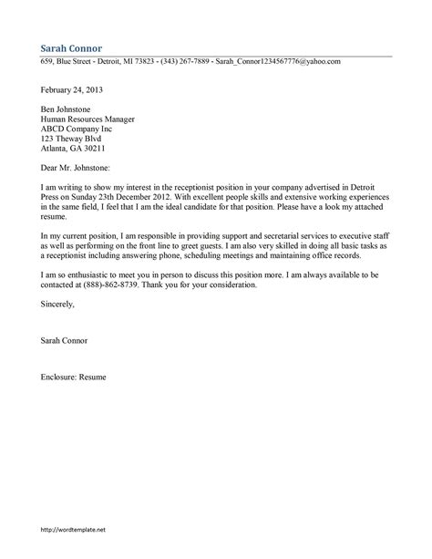 Cover Letter For Receptionist At Vet Clinic veterinary receptionist cover letter 63 images cover