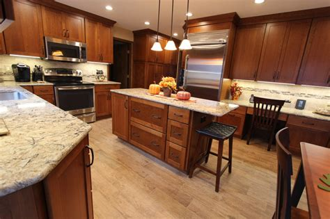 Cognac Kitchen Cabinets cherry cabinets with quartz countertop strongsville oh