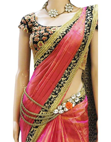which colour blouse suits for pink saree buy surat tex pink color paper silk embroidered party wear
