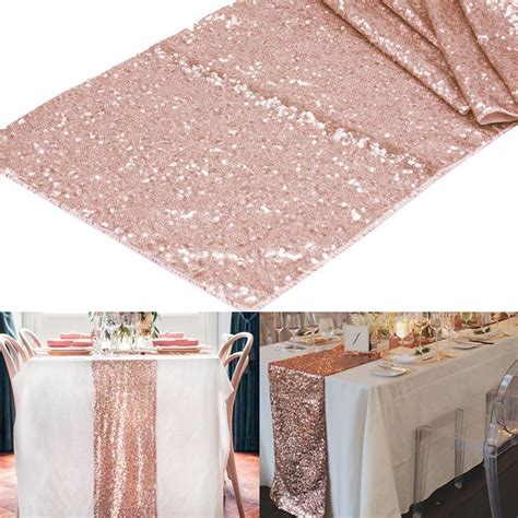 Bling Home Decor by 1pcs 12 Quot X108 Quot Rose Gold Champagne Sequin Table Runner