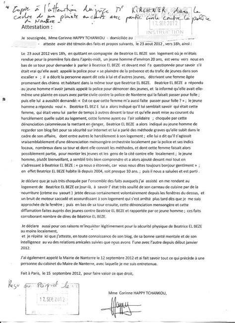 Exemple De Lettre Témoignage Preuves Des M 233 Thodes Criminelles De La Via Ses Indics Log 233 S En Hlm B 233 Atrice El Beze