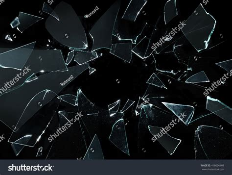 Glass Pieces shattered broken glass pieces isolated on stock photo