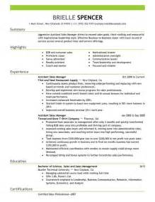 Resume Format For Sales Manager by Unforgettable Assistant Managers Resume Exles To Stand Out Myperfectresume