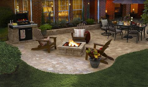 small pit for patios a pavestone rumblestone patio with all of the best features pit grill and dining