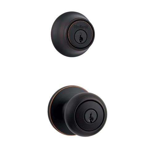Kwikset Rubbed Bronze Door Knobs by Shop Kwikset Cove Venetian Bronze Keyed Entry