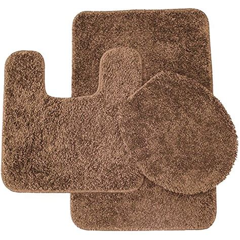 Brown Bathroom Rug Sets Sweet Home Collection 3 Shag Bathroom Rug Set Light Brown Bath Mat Contour Seat Cover