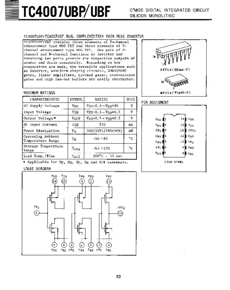 integrated circuit cross reference tc4007 toshiba cmos digital integrated circuit silicon monolithic html datasheet