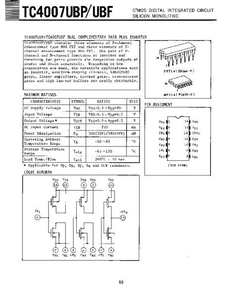 cmos digital integrated circuit tc4007 toshiba cmos digital integrated circuit silicon monolithic html datasheet