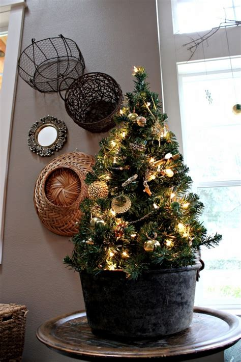 tree in lighted pot get the joyful nuance in your home by decorating a pre lit tabletop tree