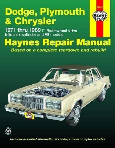 car maintenance manuals 1976 dodge aspen spare parts catalogs dodge chrysler plymouth reparaturhandbuch 71 89