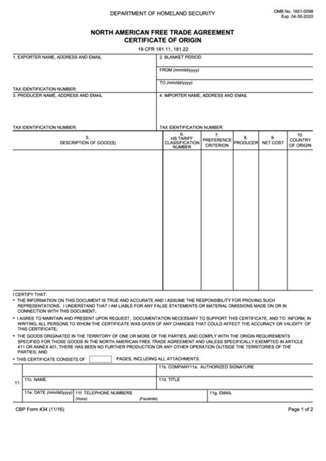 formato nafta 2016 nafta certificate template canada gallery certificate