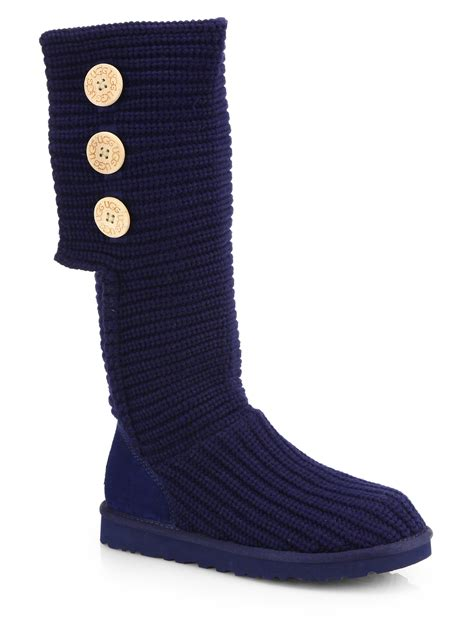 ugg australia cardy classic knit boot women ugg classic cardy knit knee high boots in blue navy lyst