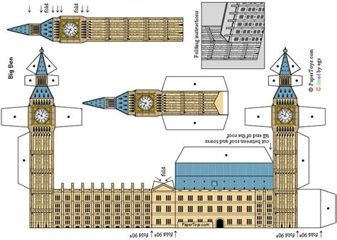 Big Ben Papercraft - armar reloj big ben manualidades big ben