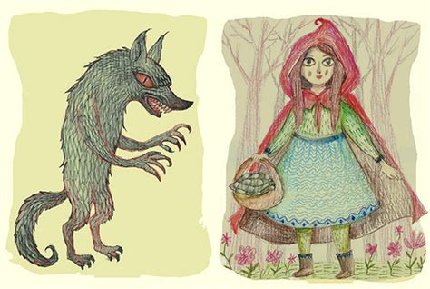 little red riding hood and wolf illustration big bad wolf and little red riding hood by v l a d i m i r