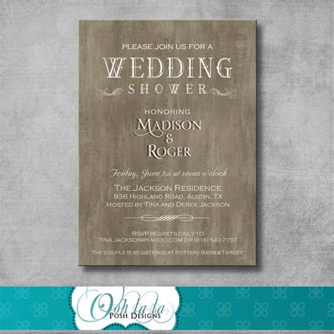 Wedding Shower Invitations by Rustic Wedding Shower Invitation By Oohlalaposhdesigns