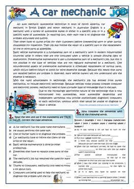 Car Types Esl by 12 Free Esl Mechanic Worksheets