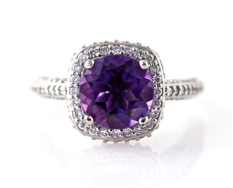 14K Amethyst Ring Diamond Halo Engagement Ring 14K 18K