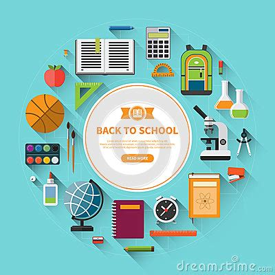 school supplies icon set back back to school flat vector background stock vector image