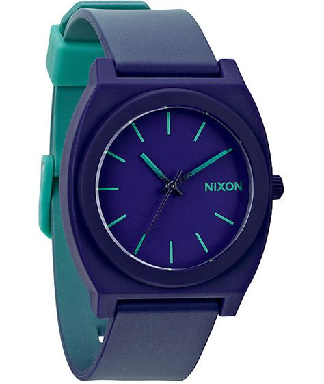 nixon small time teller p teal nixon time teller p purple to teal fade analog zumiez