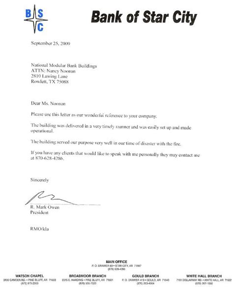 Bank Letter In Standing Professional Reference Letter For Bank Account Opening