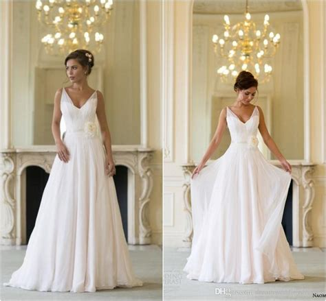 discount grecian backless beach wedding dresses v neck