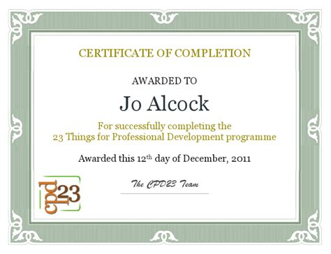 cpd certificate template joeyanne s 23 things for professional development cpd23