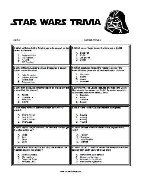 printable character questionnaire free printable star wars trivia star wars unit