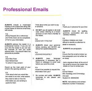 professional email template sle professional email 7 exles format