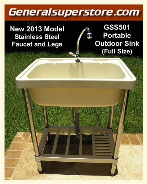 Stainless Steel Movable Kitchen Island Portable Outdoor Sink Garden Camp Kitchen Camping Rv Ebay