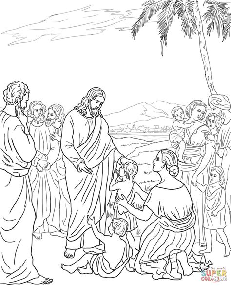 jesus blesses the children coloring page free printable