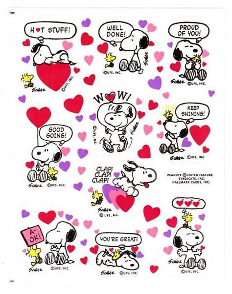 peanuts valentines vintage snoopy sticker sheet hallmark peanuts