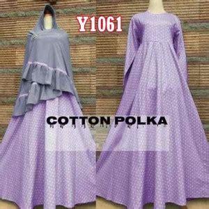 Gamis Bergo Polka gamis bergo cotton polka y1061 baju muslim syar i katun