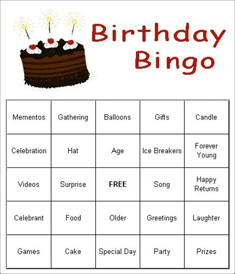 printable party games for adults free free birthday games bingo
